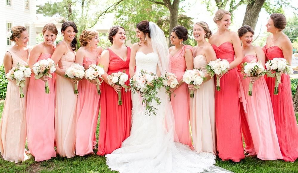 subtle shades of pink for bridesmaid
