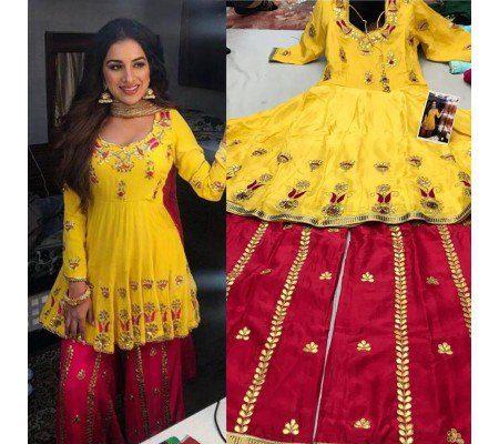 yellow dhoti suit