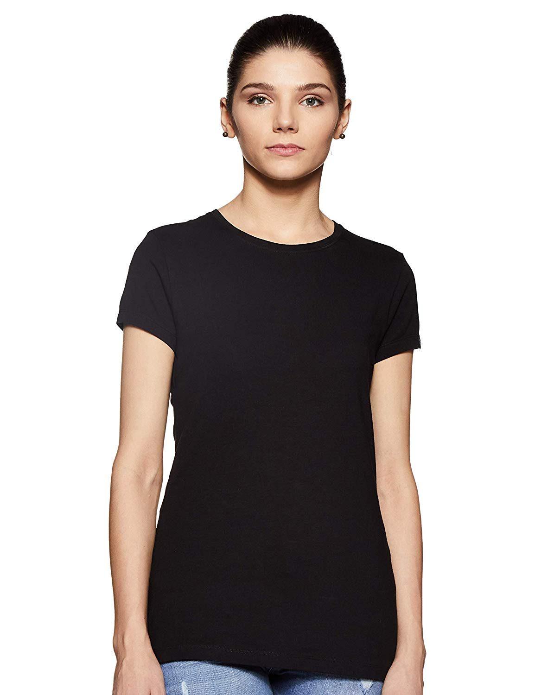 black plain tshirt for women