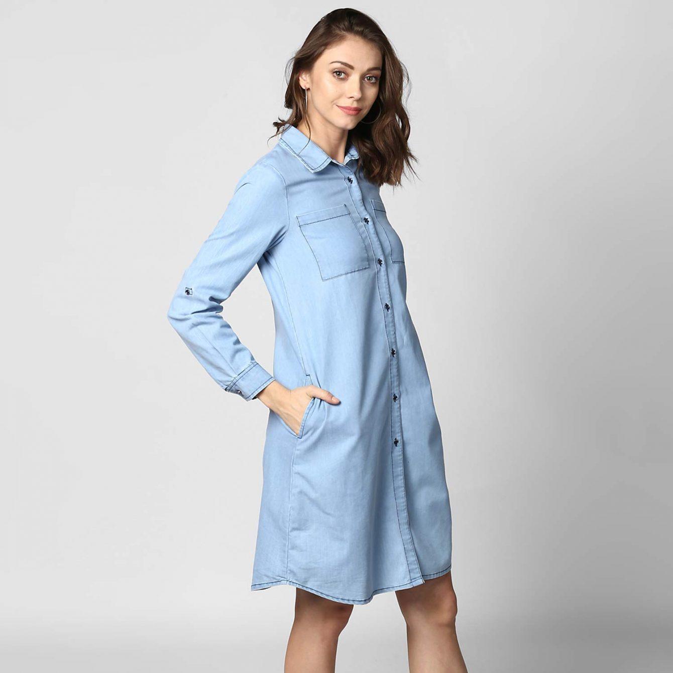 blue denim dress for women