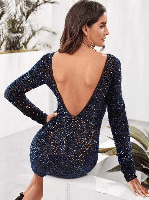 shein backless sequin dress